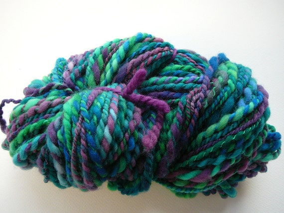 Handspun Merino Yarn  Mermaid  Bulky Weight