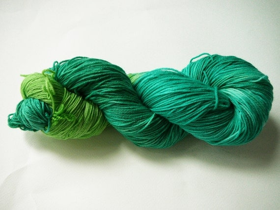 Hand painted superwash merino/nylon sock yarn  fingering weight  It's Not Easy Being Green, 100g