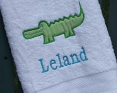 Monogrammed Kids Bath Towel with Alligator Applique -  perfect for the beach, bath or pool