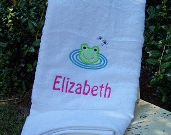 Monogrammed Kids Bath Towel with Frog Applique -  perfect for the beach, bath or pool
