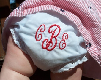 Monogrammed Diaper Cover / Personalized Baby Bloomers / Monogrammed Panties