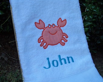 Monogrammed Kids Bath Towel with Crab Applique -  perfect for the beach, bath or pool