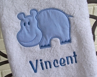 Monogrammed Kids Bath Towel with Hippo Applique -  perfect for the beach, bath or pool