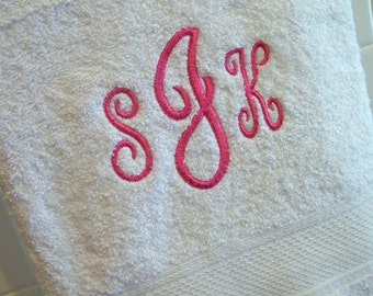Monogrammed Bath Towel - you choose the monogram color and font