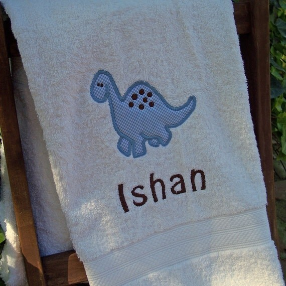 Monogrammed Kids Bath Towel with Dinosaur Applique -  perfect for the beach, bath or pool