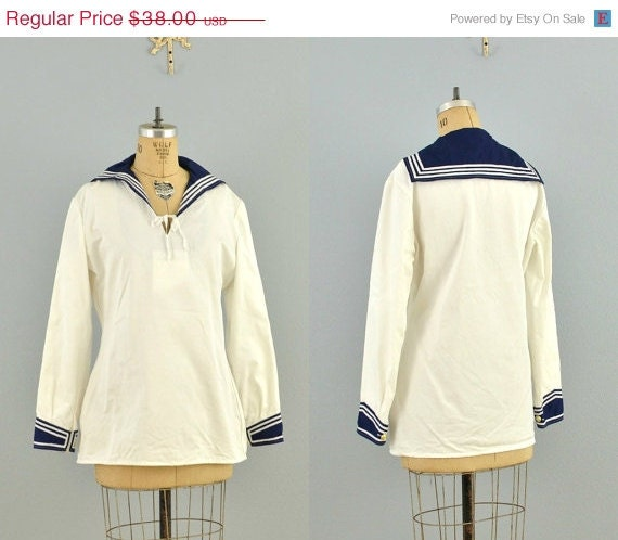 vintage sailor top /navy sailor / sailor jacket