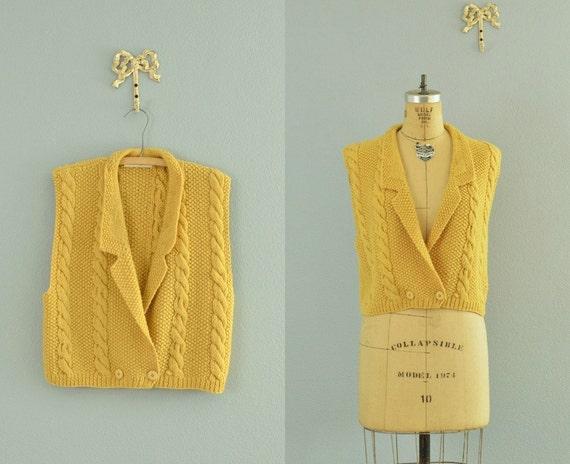 vintage wool vest / mustard yellow / vintage cable vest