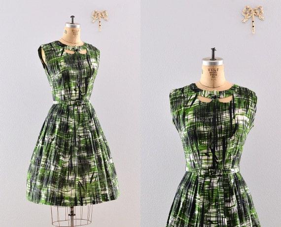 vintage 50s green day dress / 50s sun dress / 1950s colonial miss dress
