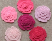 Perfectly Pink - Roses - 48 Die Cut Felt Flowers
