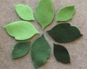 Green Day - Regular Leaves - 48 Die Cut Felt Shapes