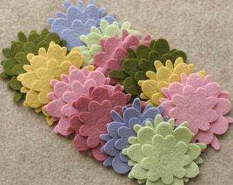 Wool Garden - Flowers - 36 Die Cut Wool Felt Flowers