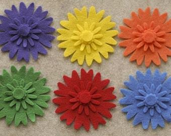 Over the Rainbow - Peonies - 24 Die Cut Felt Flowers
