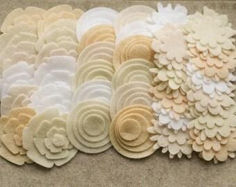 Antique Lace - Super Pack - 132 Die Cut Felt Flowers and Circles