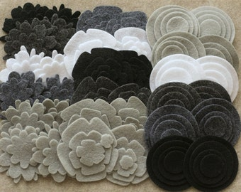 Stormy Weather - Super Pack - 132 Die Cut Felt Flowers and Circles