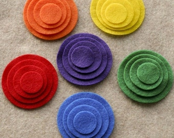 Over the Rainbow - Circles - 48 Die Cut Felt Circles