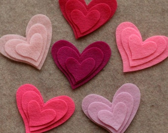 Perfectly Pink - Tipsy Hearts - 36 Die Cut Felt Shapes