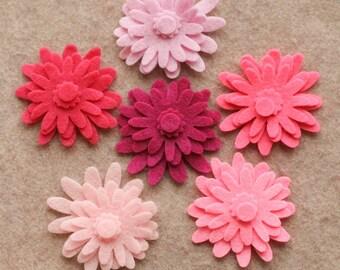 Perfectly Pink - Mums - 48 Die Cut Felt Flowers