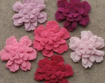 Perfectly Pink - Zinnias - 48 Die Cut Felt Flowers