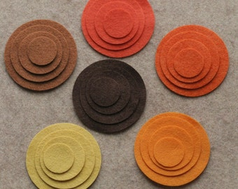 Sunflower Fields - Circles - 48 Die Cut Wool Felt Circles