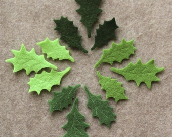 Green Day - Small Holly Leaves - 36 Die Cut Felt Shapes