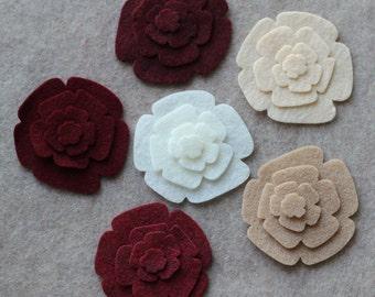 Khaki Santa - Roses - 48 Die Cut Felt Flowers