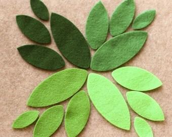 Green Day - Plain Leaves - 48 Die Cut Felt Shapes