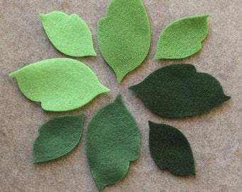 Green Day - Regular Leaves - 48 Die Cut Felt Shapes