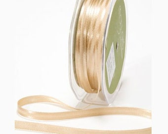 1/4 inch Antique Gold Satin Ribbon - One Yard