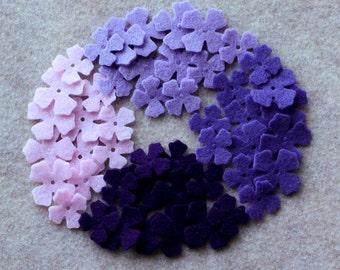 Purple Haze - Lilacs - 48 Die Cut Felt Flowers