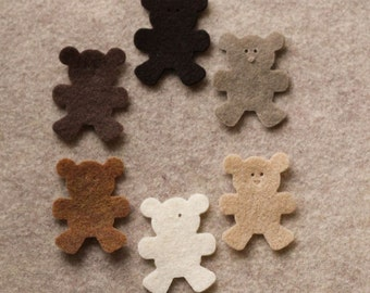 Cafe Au Lait - Teddy Bears - 24 Die Cut Felt Shapes