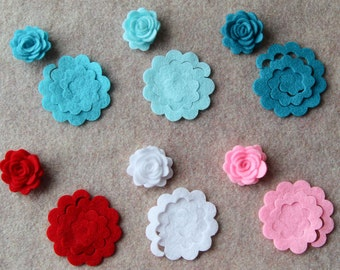 Sugar and Spice - 3D Rolled Roses - 24 Die Cut Felt Flowers - Unassembled Rosettes