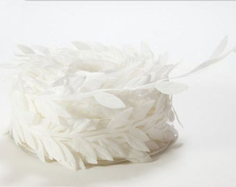 Leaf Satin Ribbon - White - 1 inch  - You Choose Yards