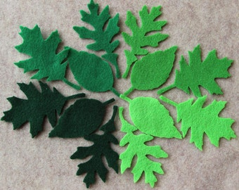Green Day - Tattered Leaves - 36 Die Cut Felt Shapes