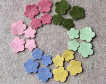 Wool Garden - Violas - 48 Die Cut Wool Felt Flowers