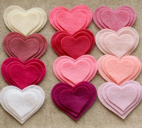 Pretty in Pink - 36 Felt Hearts