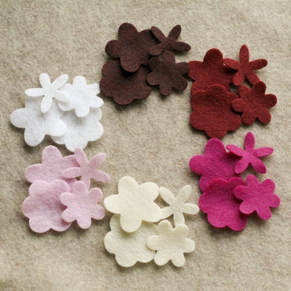 Berries and Cream - Posies - 72 Die Cut Felt Flowers