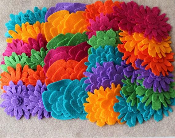 Autumn Bouquet - Flower Power Pack - 180 Die Cut Felt Flowers