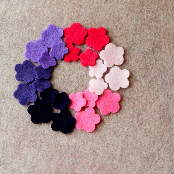 Fairytale Princess - Violas - 48 Die Cut Felt Flowers