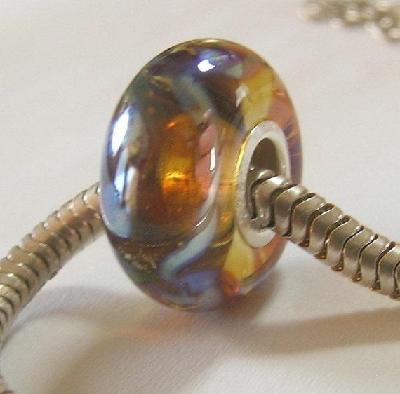 OOAK Light Amber Handmade Lampwork Bead - SRA - Fits Troll/pandora etc
