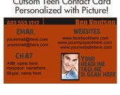 Custom Teen Contact Card--Personalzed with Picture.