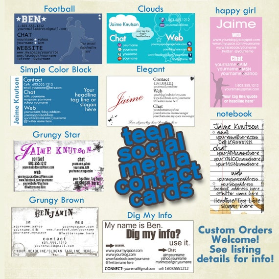 Teen Business Card Contact Card  Online Contact Information Business Card Style