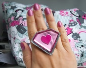 Mushy, Blingy Love - pink and silver mirror heart and diamond acrylic ring (custom size or colour)