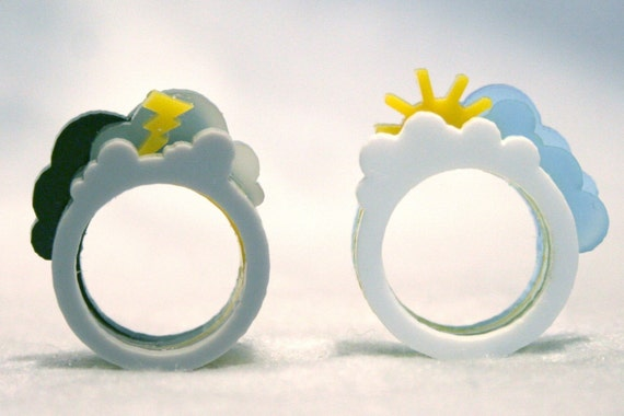 Oh, Happy Day \/ Oh, Crappy Day Ring Set (Medium, Acrylic)