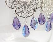 Silver Filigree Teardrop Crystal Chandelier Earrings- Gold Filigree Earrings- Middle Eastern Earrings- Indian Earrings-  ES-FT1