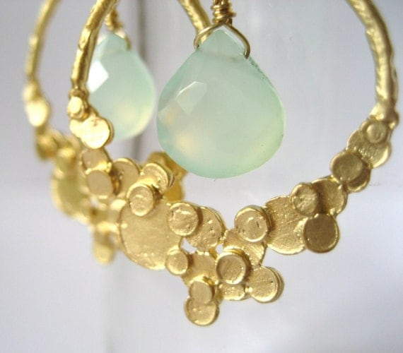Phoebe   ...matte gold bubble teardrop and pale aqua chalcedony briolette chandelier earrings