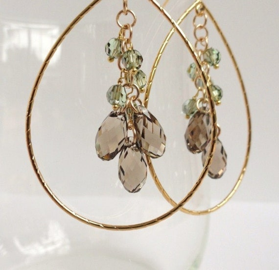 Ana   ...large gold teardrop hoop with greige beige sage green swarovski crystal cluster chandelier earrings.