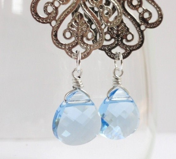 Antoinette  ...intricate gunmetal silver filigree with aquamarine blue Swarovski briolette crystal drop earrings. Available in other colors.