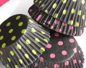 Lime and Pink Dot Cupcake Liners in Soft Black (50)