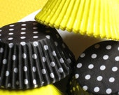 Sweet As Can Bee Cupcake Liners in Yellow and Black Dot (50)
