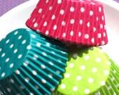 Fun Polka Dot Cupcake Liners in Pink, Lime and Jade Green (60) LAST SET